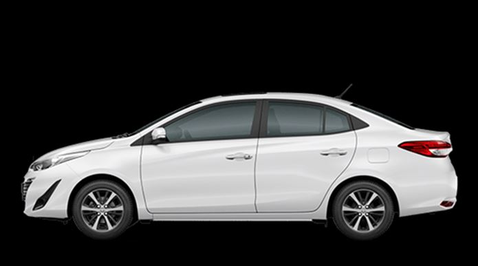 toyota yaris sedan 2019 branco lateral